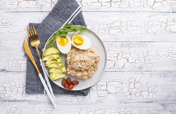Healthy balanced breakfast in plate - Stock Photo - Images
