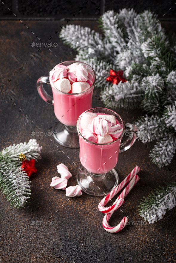 Ruby hot chocolate or pink cocoa - Stock Photo - Images