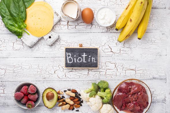 Natural sources of vitamin B7 biotin - Stock Photo - Images