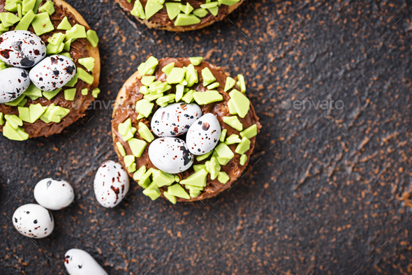 Easter  cookies in shape of nest with eggs - Stock Photo - Images