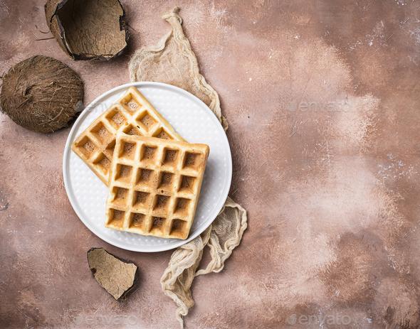 Sweet healthy coconut Belgium waffles - Stock Photo - Images