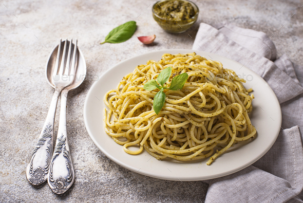 Italian spaghetti pasta with pesto sauce - Stock Photo - Images