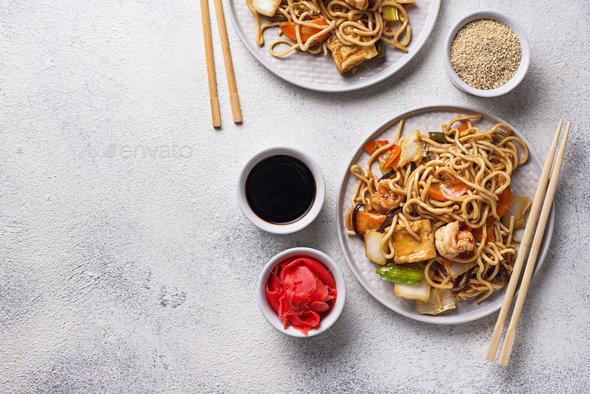 Asian noodles with shrimps and vegetables - Stock Photo - Images