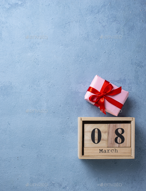 Womens day concept with wooden calendar - Stock Photo - Images