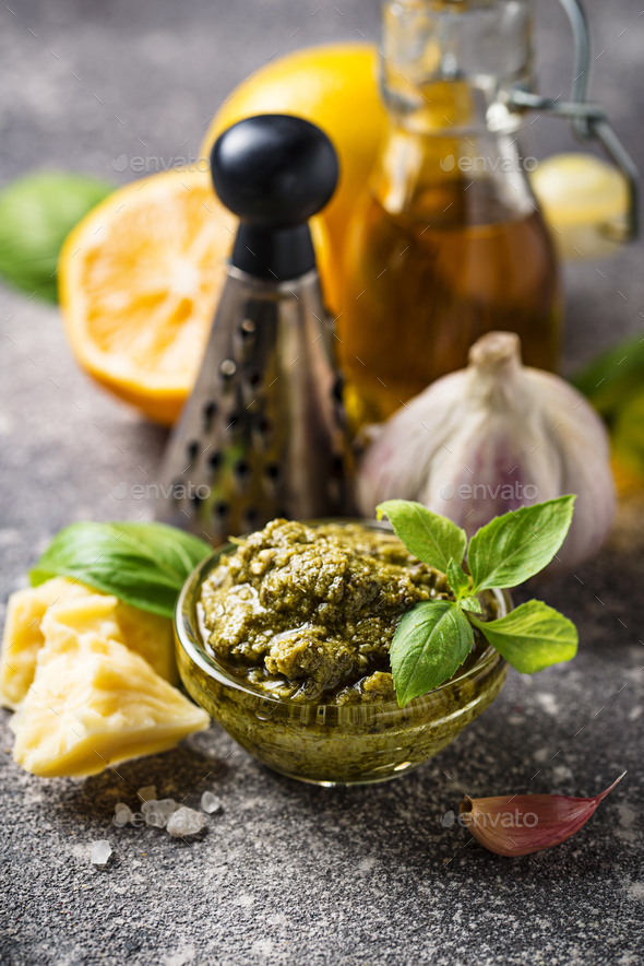 Homemade traditional Italian pesto sauce - Stock Photo - Images