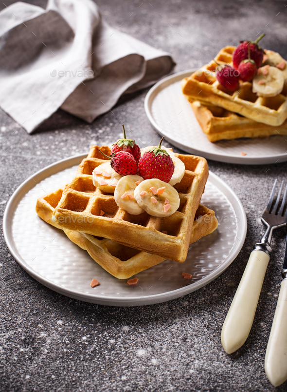 Waffles with strawberries and banana - Stock Photo - Images