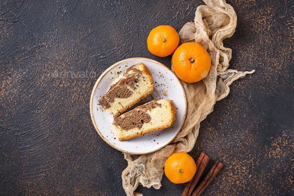 Homemade marble cake with chocolate and orange - Stock Photo - Images