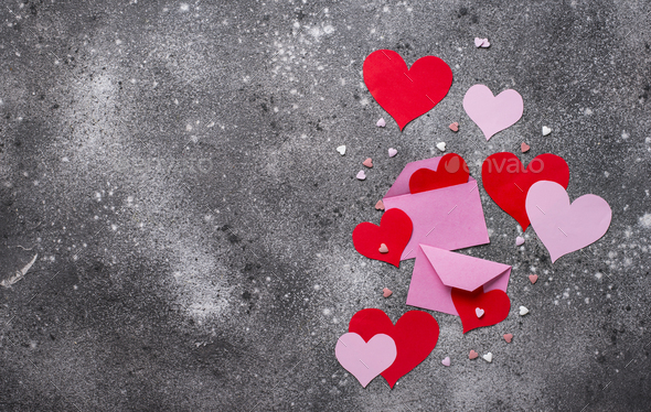 Valentines Day background with  hearts - Stock Photo - Images