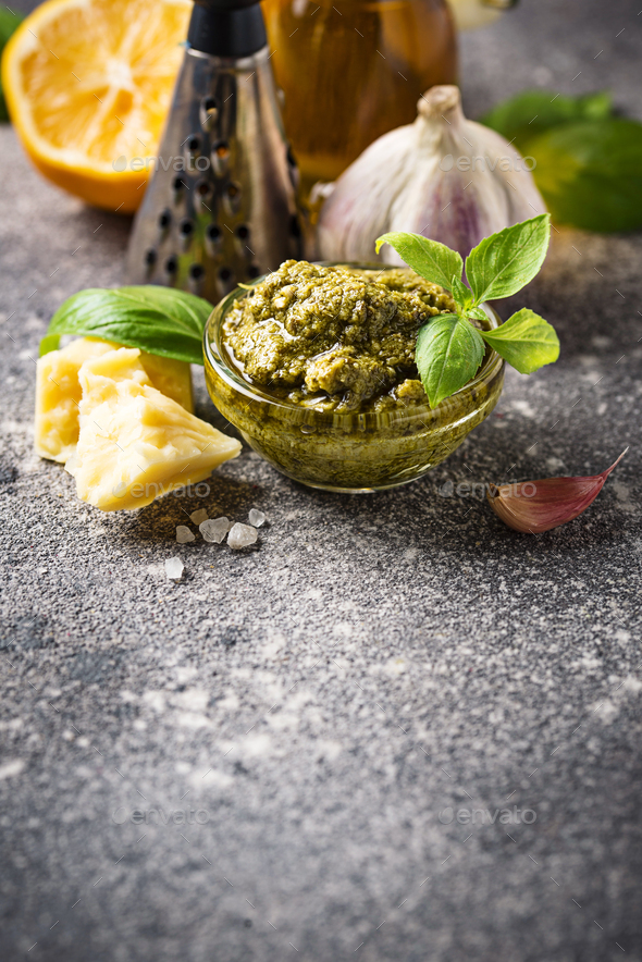 Homemade traditional Italian pesto sauce - Stock Photo - Images