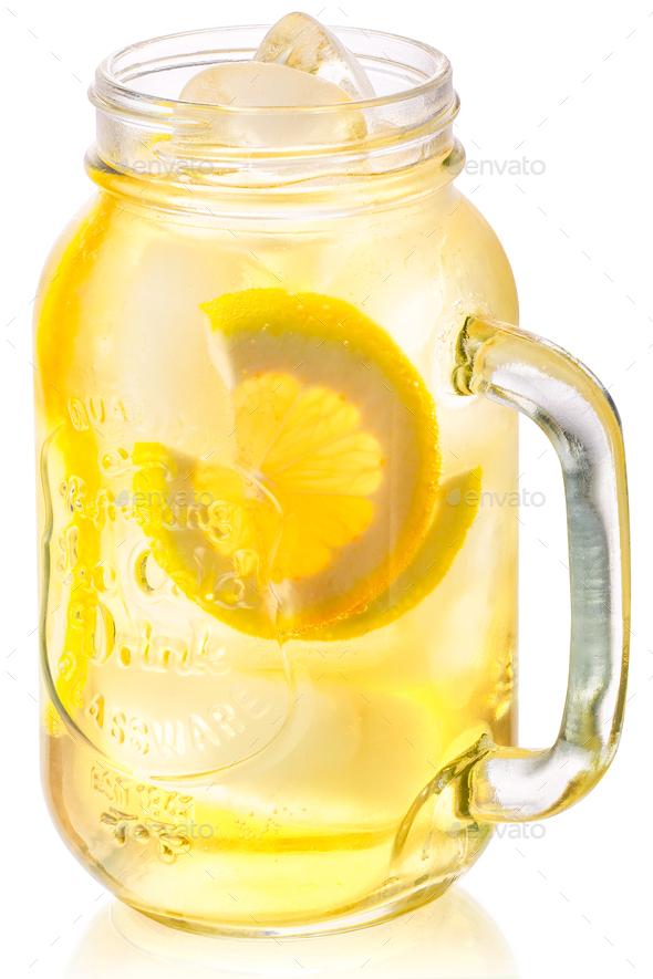 Iced lemonade in mason jar, paths - Stock Photo - Images