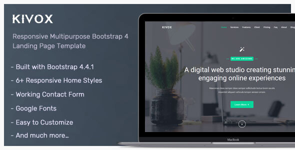 Kivox - Landing Page Template by themesdesign