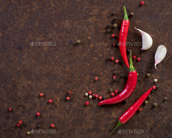 red hot chili pepper pods - Stock Photo - Images