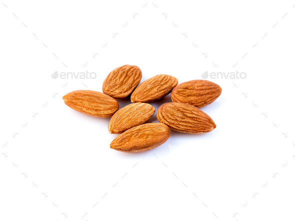 peanuts almond peeled, isolated on white background, side view - Stock Photo - Images
