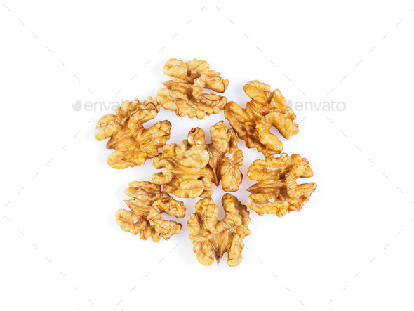 Top view with a handful of walnut, circassian nuts isolated on white background - Stock Photo - Images