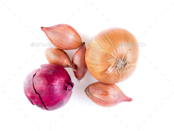 Set of different onions - shallots, red onion on white background, bulbs, top view - Stock Photo - Images
