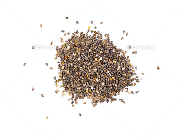 Chia seeds isolated on white background, top view, close-up - Stock Photo - Images