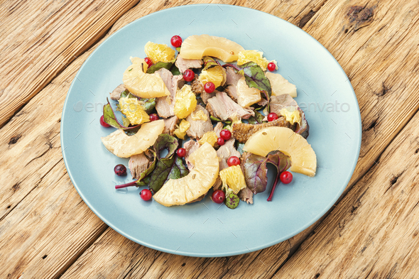 Meat salad with pineapple. - Stock Photo - Images