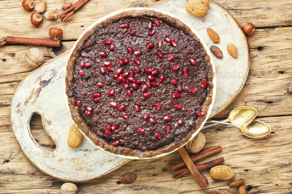 Chocolate cake with pomegranate - Stock Photo - Images