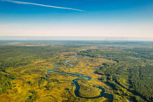 Aerial View Green Forest Woods And River Landscape In Sunny Summer Day. - Stock Photo - Images