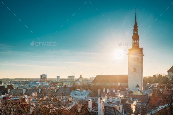Tallinn, Estonia. Sun Shining Through Church Of St. Nicholas Niguliste Kirik. - Stock Photo - Images
