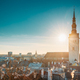 Tallinn, Estonia. Sun Shining Through Church Of St. Nicholas Niguliste Kirik. - PhotoDune Item for Sale
