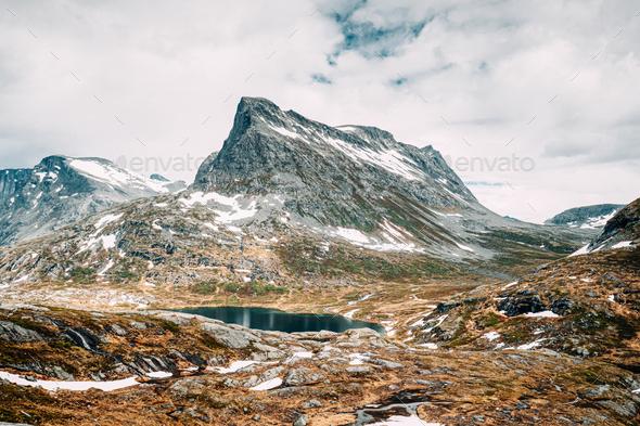 Reinheimen National Park, Norway. Lake Ovstevatnet In Mountains Landscape - Stock Photo - Images