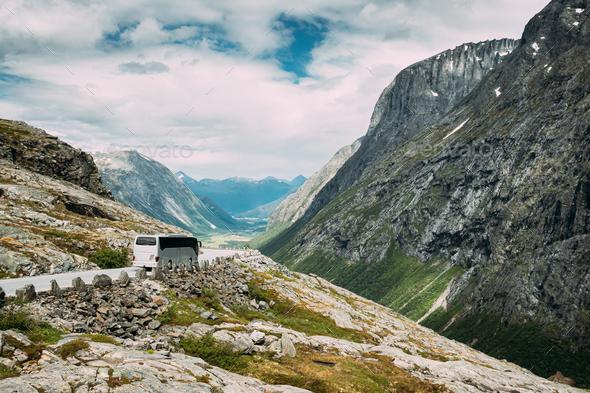 Trollstigen, Andalsnes, Norway. Bus Goes On Famous Mountain Road Trollstigen. - Stock Photo - Images