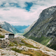 Trollstigen, Andalsnes, Norway. Bus Goes On Famous Mountain Road Trollstigen. - PhotoDune Item for Sale