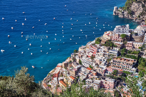 Aerial view of the beautiful town of Positano - Stock Photo - Images