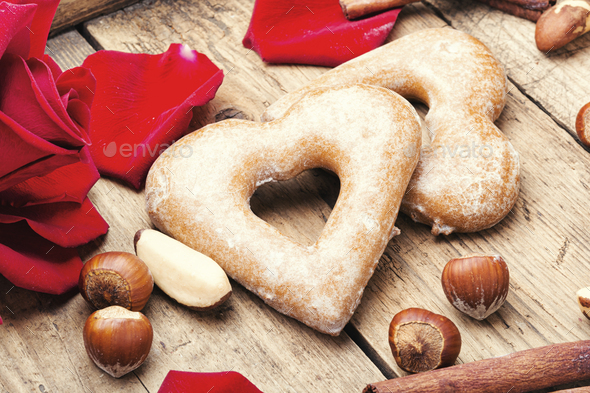 Heart shaped sugar cookies - Stock Photo - Images