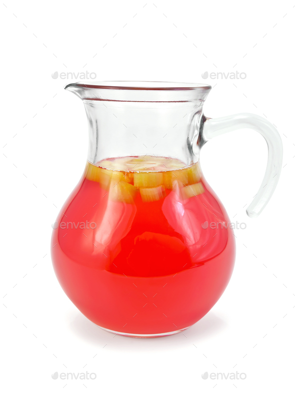 Compote from rhubarb in jug - Stock Photo - Images