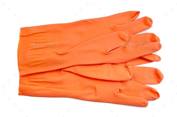 Orange rubber gloves - Stock Photo - Images
