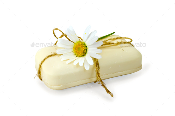 Soap white with chamomile - Stock Photo - Images
