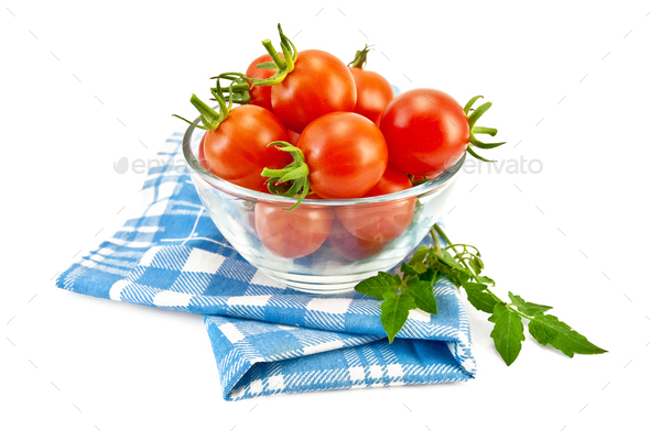 Tomatoes in a glass on a napkin - Stock Photo - Images