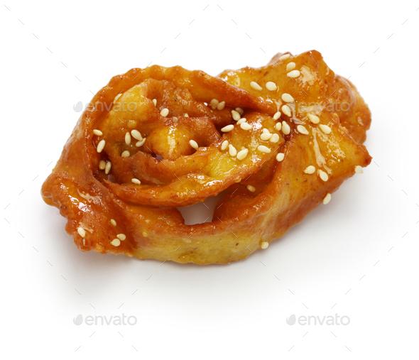 homemade chebakia, moroccan ramadan cookie isolated on white background - Stock Photo - Images
