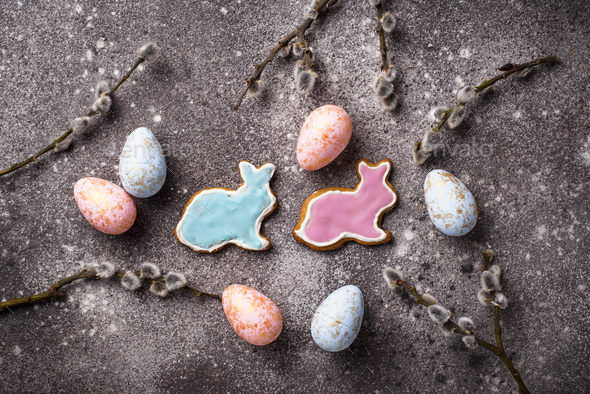 Easter cookie in shape of bunny and sheep - Stock Photo - Images