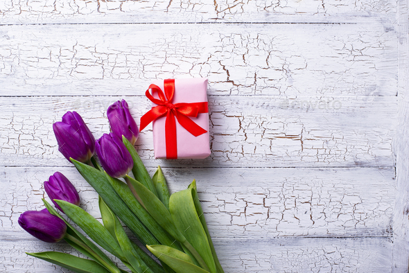Tulips flowers and gift box - Stock Photo - Images