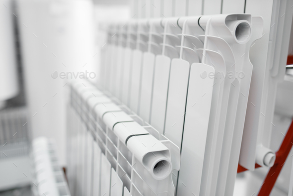 Water heating radiators, plumbering store - Stock Photo - Images