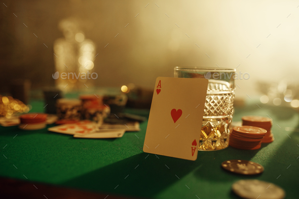 Poker concept, ace of hearts on gaming table - Stock Photo - Images