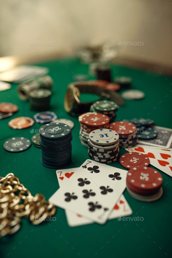 Poker concept, cards and chips closeup - Stock Photo - Images