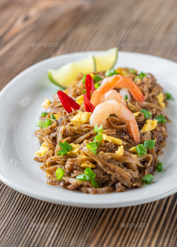 Dish of Pad Thai - Thai fried rice noodles - Stock Photo - Images
