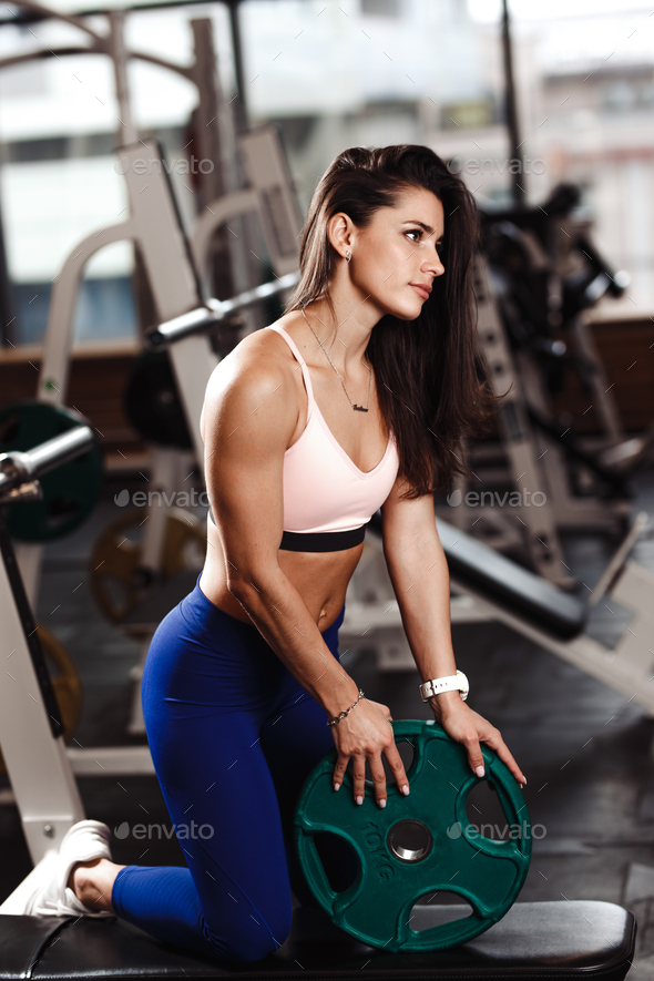Young athletic brunette girl dressed in a sportswear is doing exercises with plate on the bench in - Stock Photo - Images
