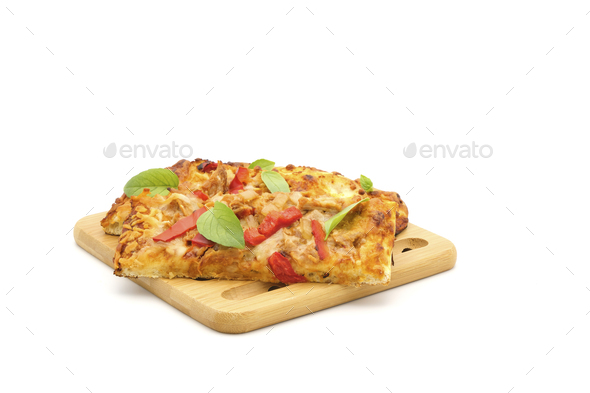 Roasted Red Pepper Chicken Flatbread - Stock Photo - Images