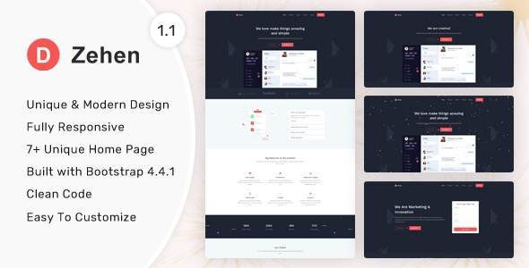 Zehen - Landing Page Template by themesdesign