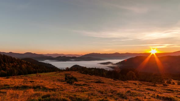 Misty Dawn in the Mountains. Beautiful Spring Landscape