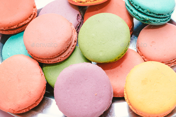 colourful french macaroons - Stock Photo - Images