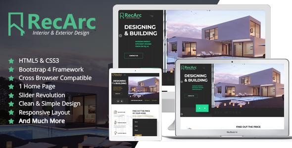 RecArc Interior & Exterior Design - HTML Template