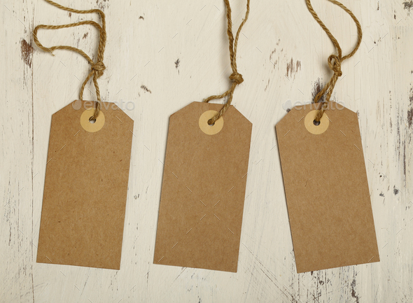 Wooden Background with Cardboard - Stock Photo - Images