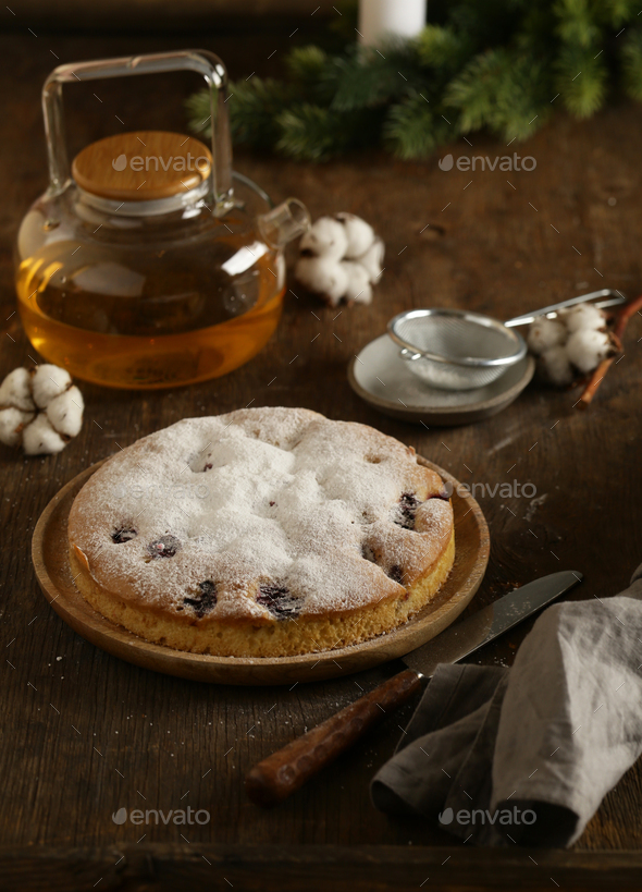 Natural Homemade Berry Cake - Stock Photo - Images
