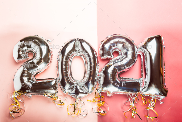 Balloon Bunting for celebration of New Year 2021 - Stock Photo - Images